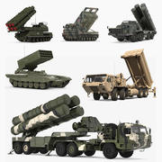 Coleção de modelos 3D de veículos lançadores de foguetes militares 3d model