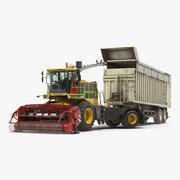 Kombinera Harvester CMC Saturne 5800 med Trailer Rigged 3D-modell 3d model