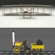 Rakietowa lokomotywa i pakiet ulotek Wright 3d model