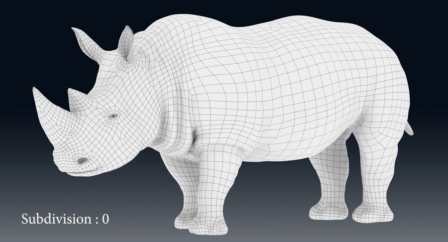 Rhinoceros_Rigged royalty-free modelo 3d - Preview no. 18