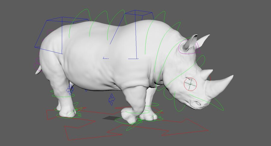 Rhinoceros_Rigged royalty-free modelo 3d - Preview no. 24
