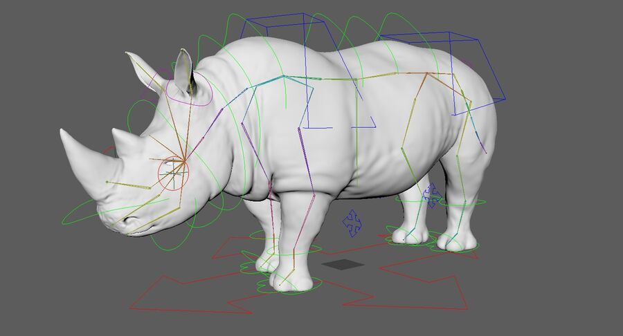 Rhinoceros_Rigged royalty-free modelo 3d - Preview no. 26