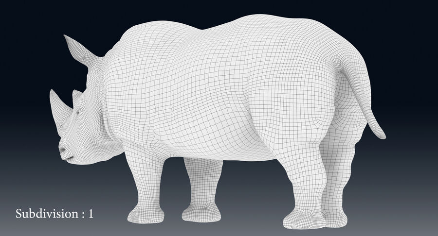 Rhinoceros_Rigged royalty-free modelo 3d - Preview no. 21
