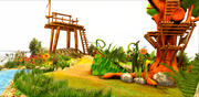 Game Cartoon Nature Landscape and Tree 3d model