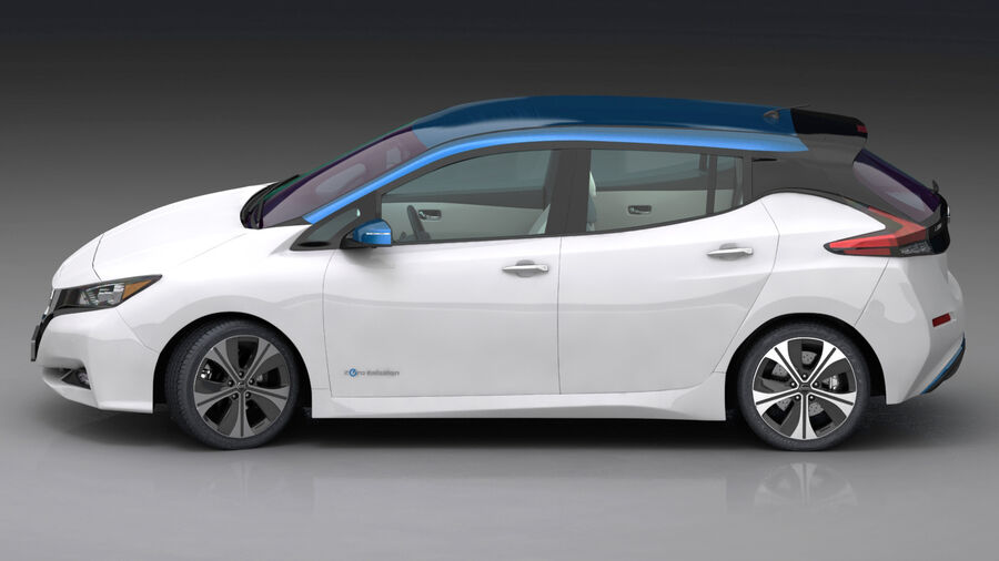 Nissan Leaf 2019 royalty-free modelo 3d - Preview no. 6