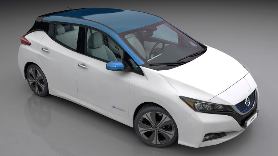 Nissan Leaf 2019 royalty-free modelo 3d - Preview no. 5