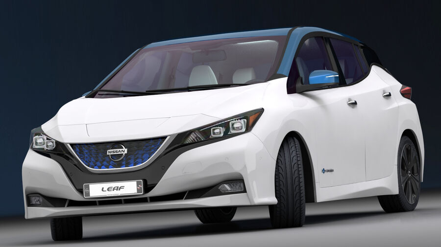 Nissan Leaf 2019 royalty-free modelo 3d - Preview no. 3