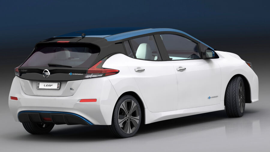 Nissan Leaf 2019 royalty-free modelo 3d - Preview no. 8
