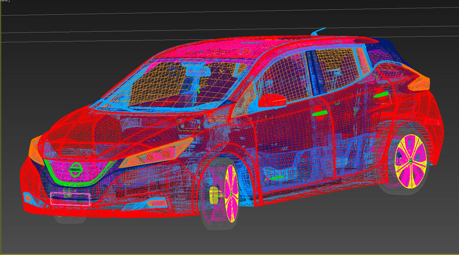 Nissan Leaf 2019 royalty-free modelo 3d - Preview no. 22