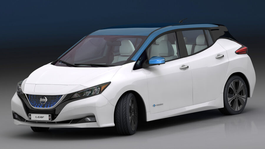 Nissan Leaf 2019 royalty-free modelo 3d - Preview no. 2