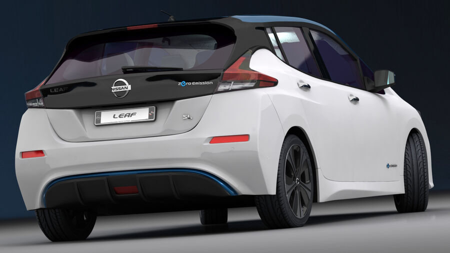 Nissan Leaf 2019 royalty-free modelo 3d - Preview no. 9