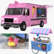 Coleção de caminhões e carrinhos de doces 3d model