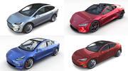 Tesla Roadster Model SX 3 com interiores 3d model