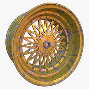 Wheel rim with spokes and chipped paint 3d model