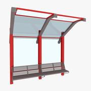 Kleine Bushaltestelle der Stadt 3d model