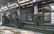 Máquina de torno industrial modelo 3d