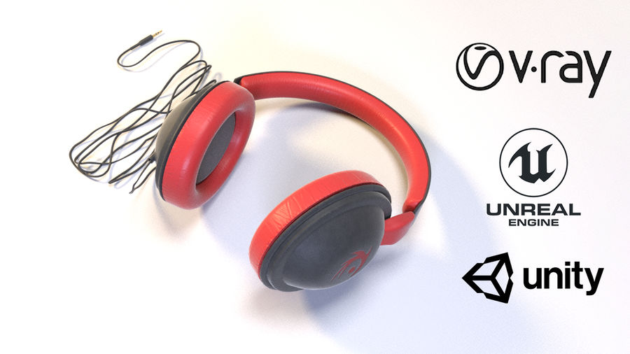Full size headphones royalty-free 3d model - Preview no. 1