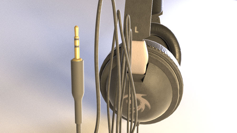 Full size headphones royalty-free 3d model - Preview no. 4