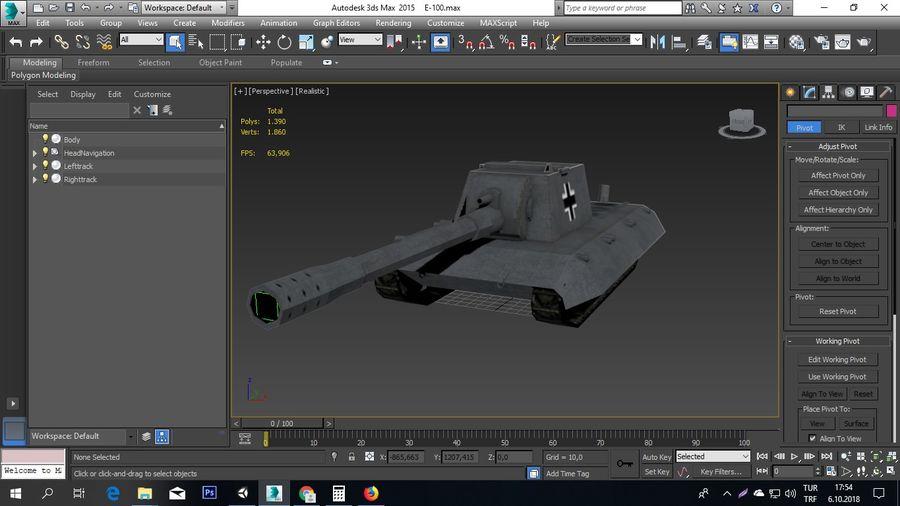 Второй немецкий танк Второй мировой войны Е-100 royalty-free 3d model - Preview no. 5