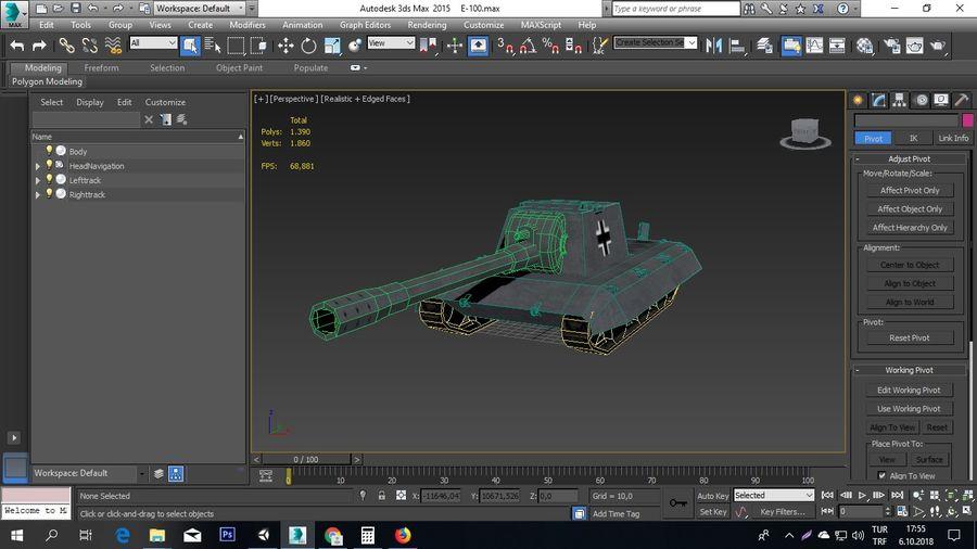 Второй немецкий танк Второй мировой войны Е-100 royalty-free 3d model - Preview no. 6