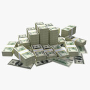100 Dollar Bills Packs 3d model