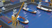 Escena del puerto modelo 3d
