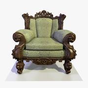 2巴洛克式木材和织物扶手椅 3d model
