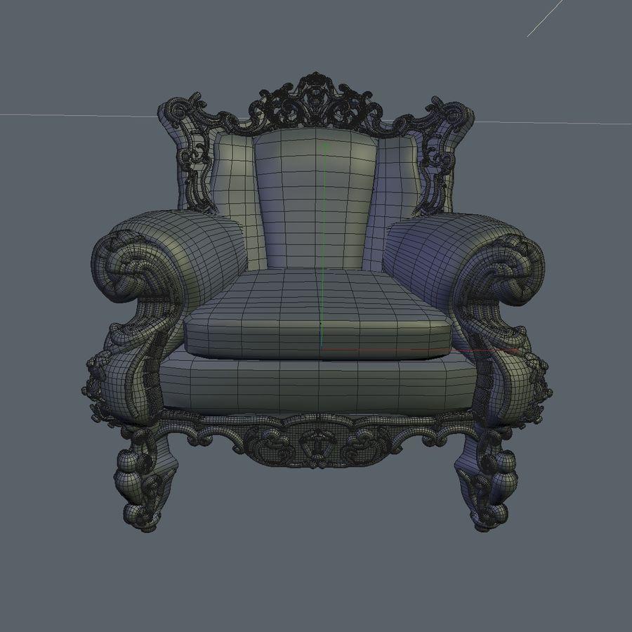 3 Baroque Velvet Armchair royalty-free 3d model - Preview no. 32
