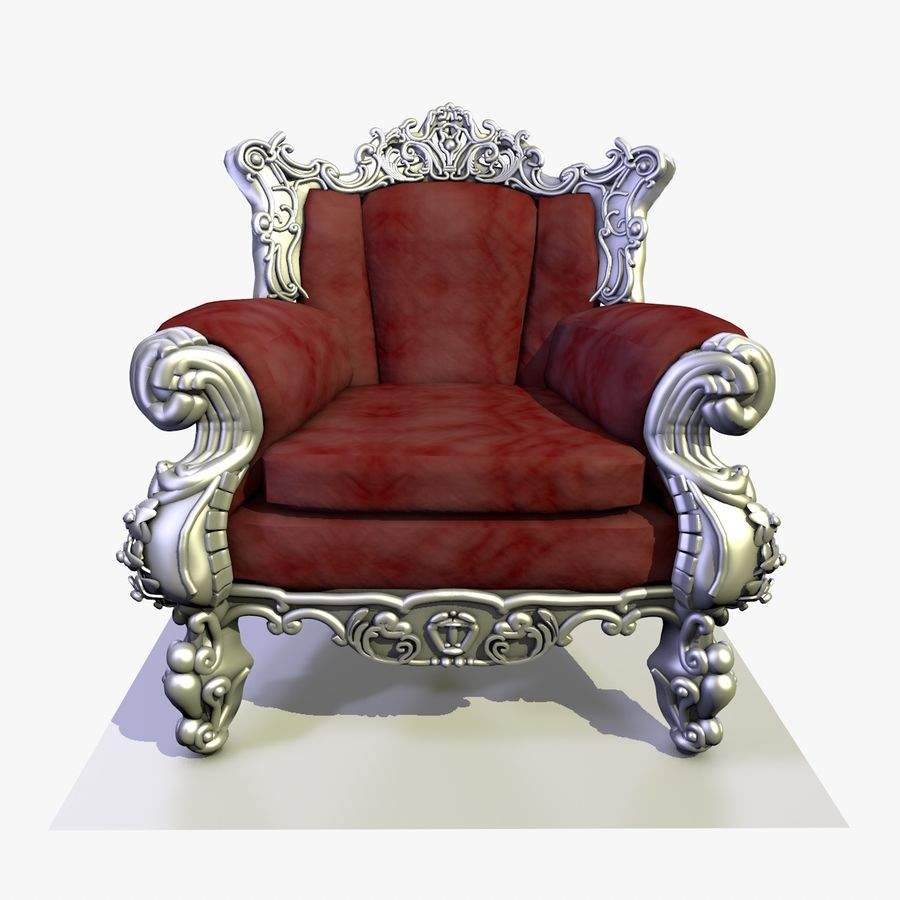 3 Baroque Velvet Armchair royalty-free 3d model - Preview no. 7