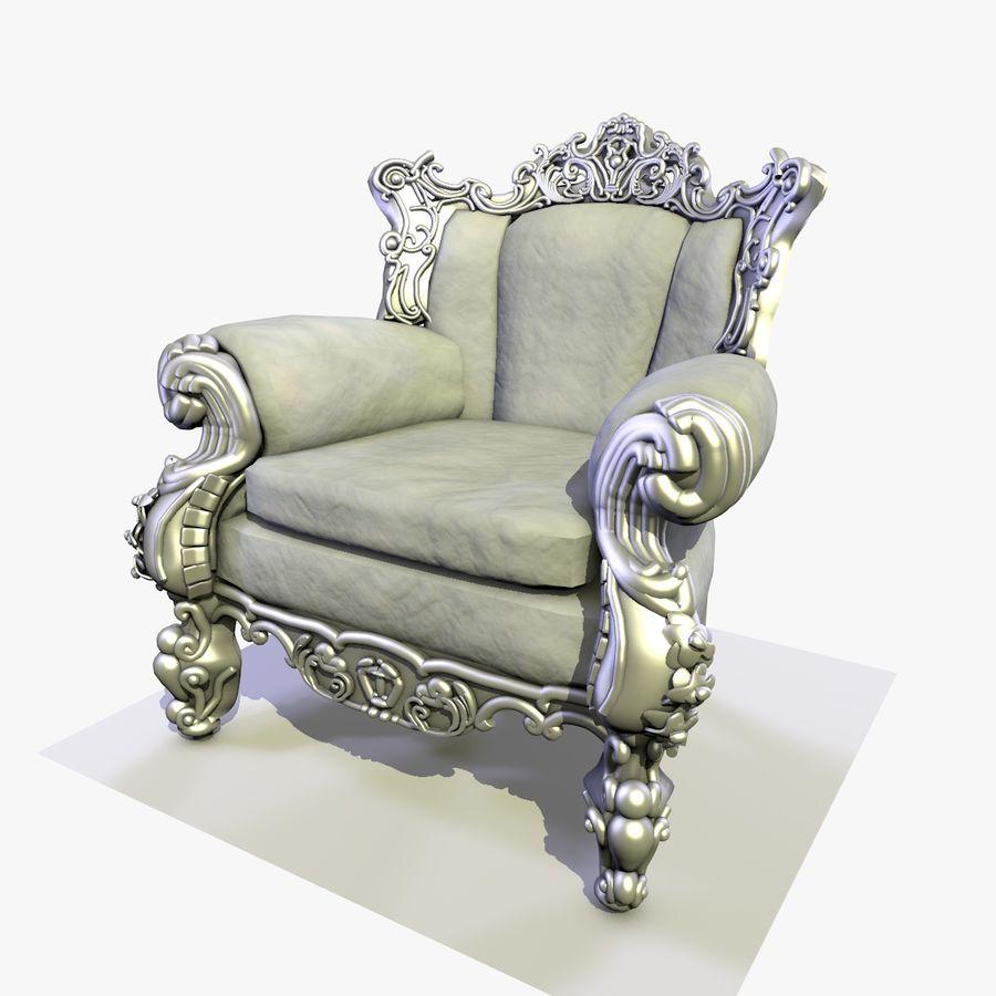 3 Baroque Velvet Armchair royalty-free 3d model - Preview no. 10