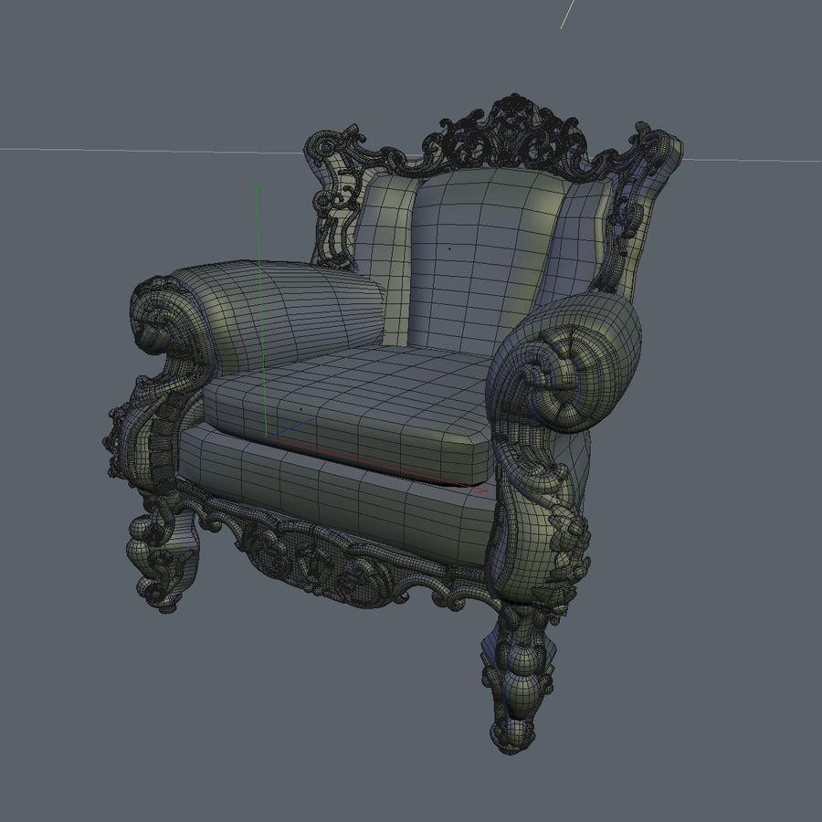 3 Baroque Velvet Armchair royalty-free 3d model - Preview no. 22