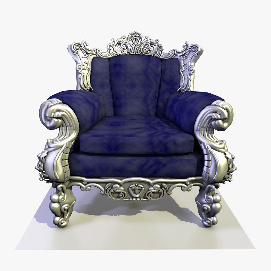 3 Baroque Velvet Armchair royalty-free 3d model - Preview no. 3