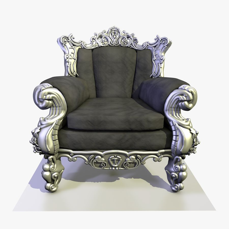 3 Baroque Velvet Armchair royalty-free 3d model - Preview no. 5