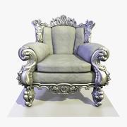 3 Baroque Velvet Armchair 3d model