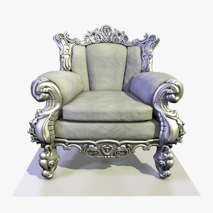 3 Baroque Velvet Armchair royalty-free 3d model - Preview no. 1