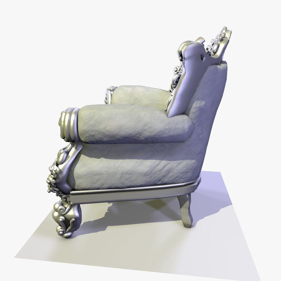 3 Baroque Velvet Armchair royalty-free 3d model - Preview no. 12