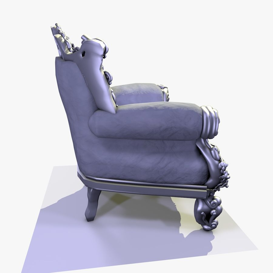 3 Baroque Velvet Armchair royalty-free 3d model - Preview no. 17