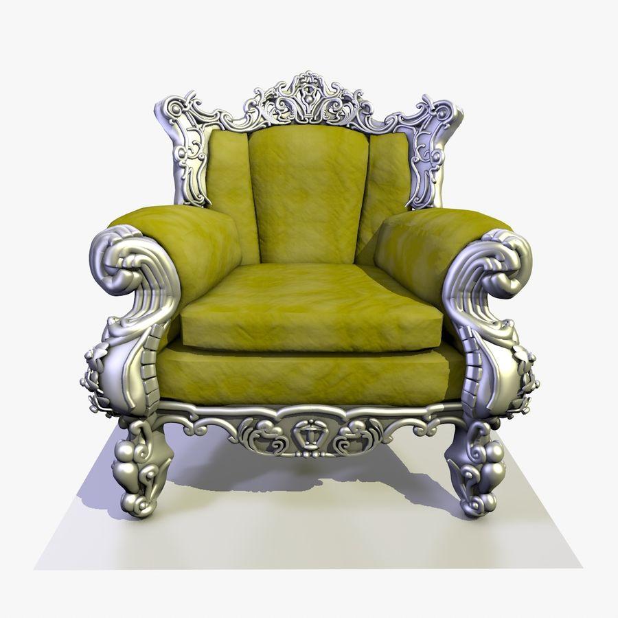 3 Baroque Velvet Armchair royalty-free 3d model - Preview no. 8