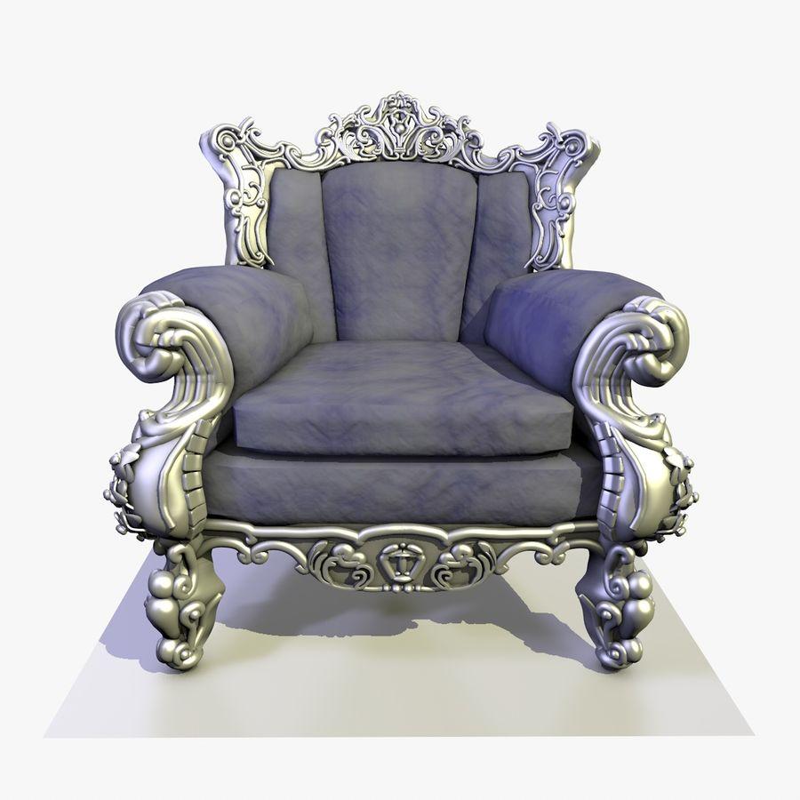 3 Baroque Velvet Armchair royalty-free 3d model - Preview no. 6
