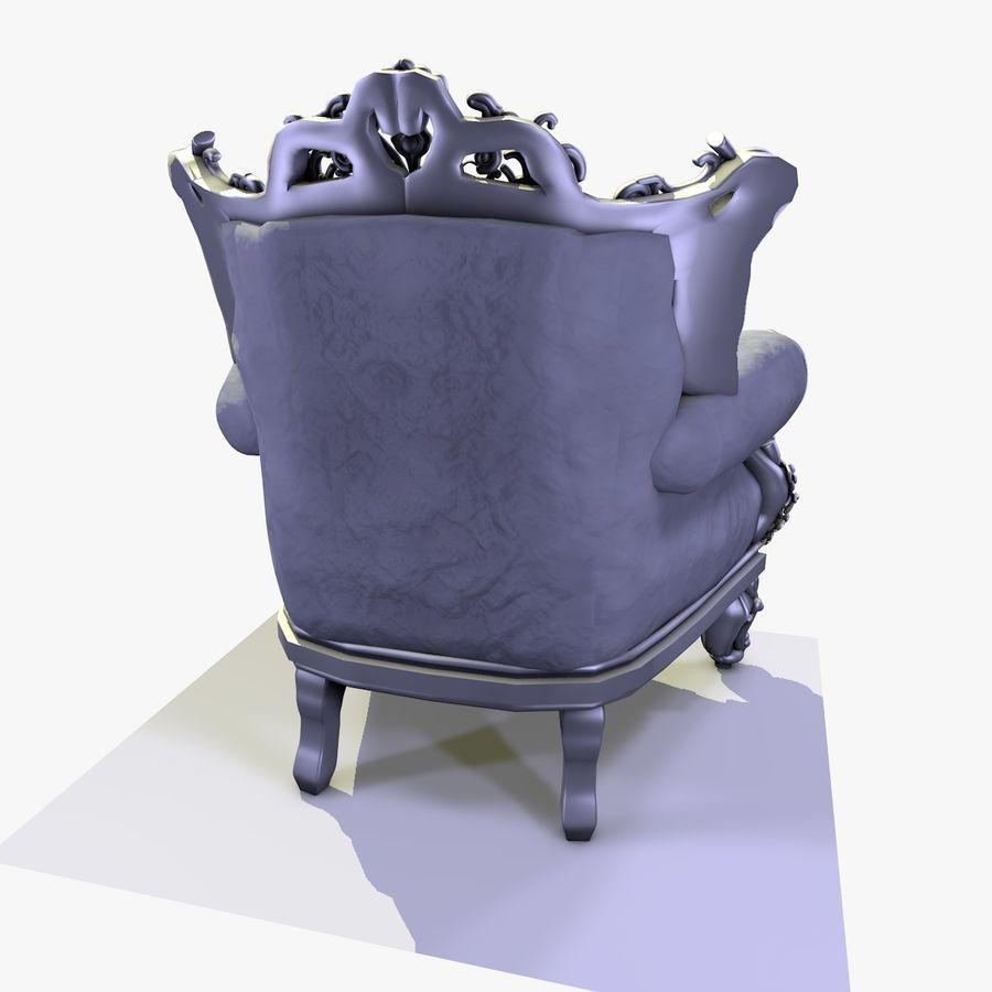 3 Baroque Velvet Armchair royalty-free 3d model - Preview no. 15