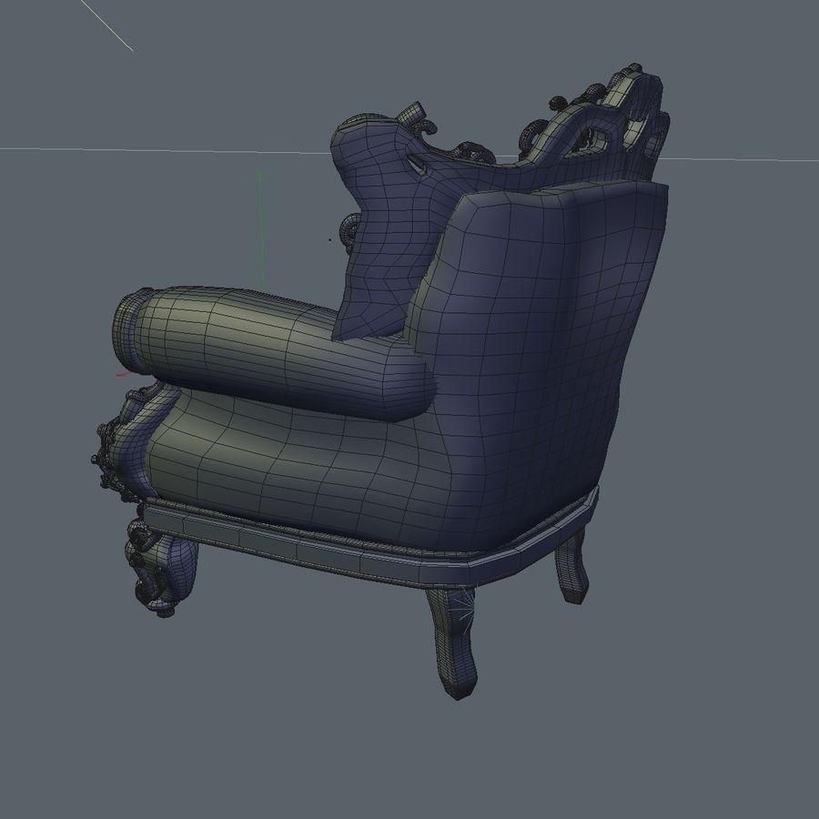 3 Baroque Velvet Armchair royalty-free 3d model - Preview no. 25