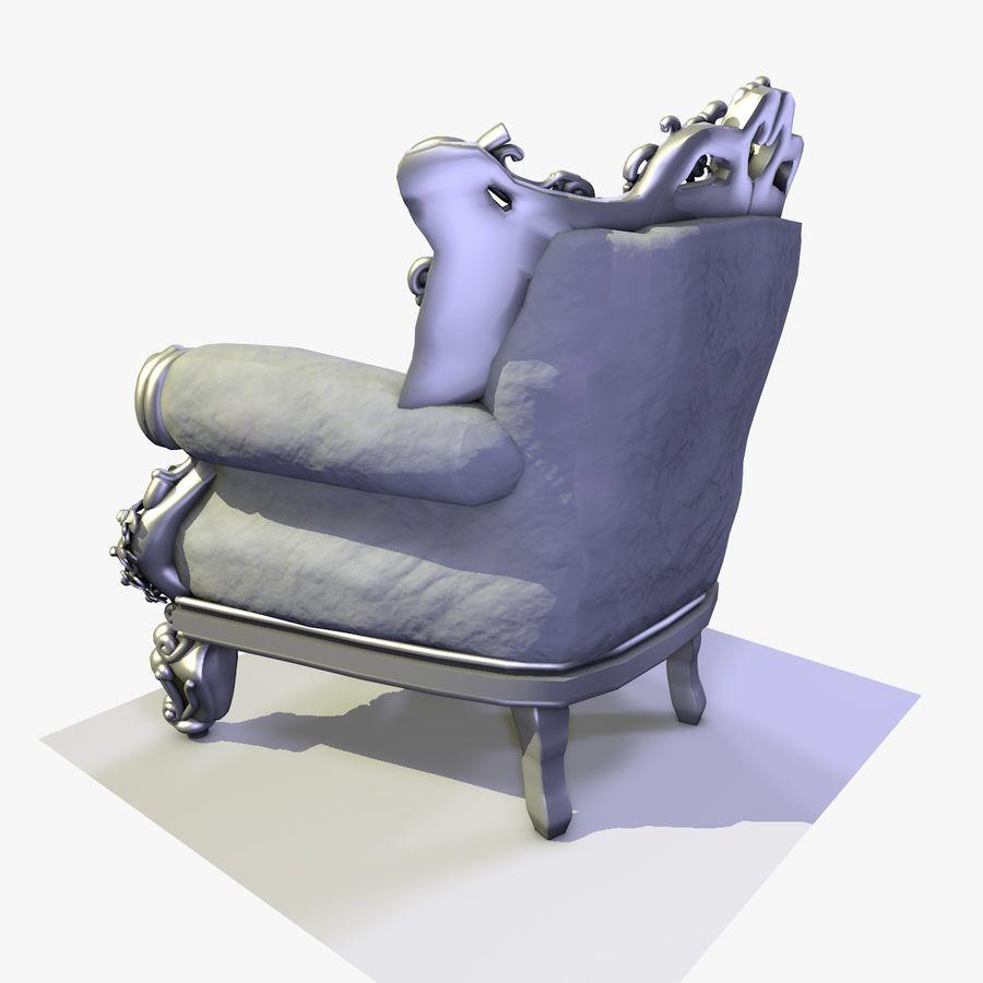 3 Baroque Velvet Armchair royalty-free 3d model - Preview no. 13