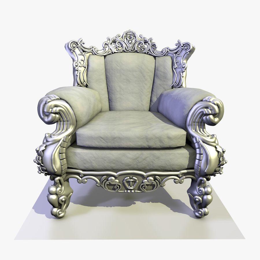 3 Baroque Velvet Armchair royalty-free 3d model - Preview no. 9