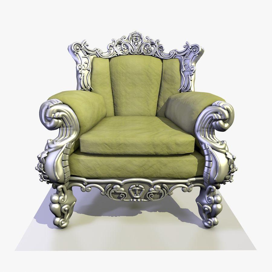 3 Baroque Velvet Armchair royalty-free 3d model - Preview no. 4