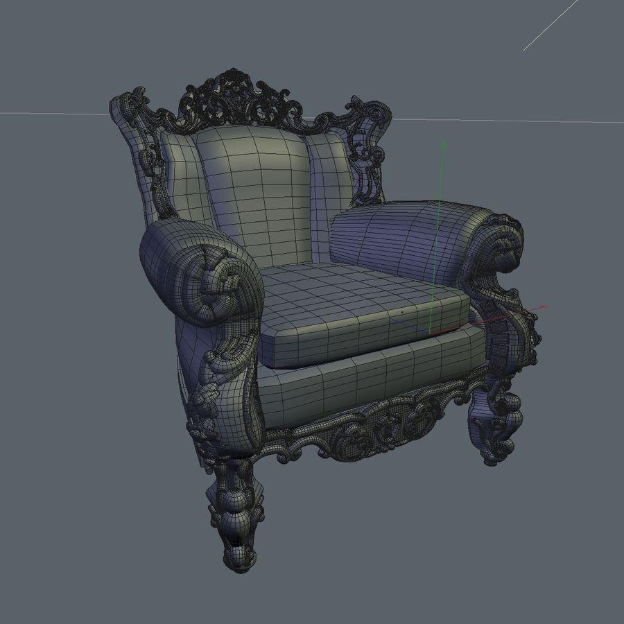 3 Baroque Velvet Armchair royalty-free 3d model - Preview no. 31