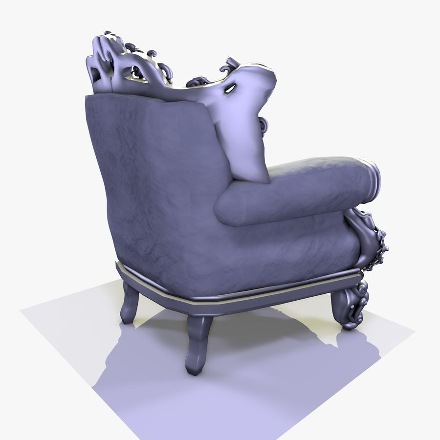 3 Baroque Velvet Armchair royalty-free 3d model - Preview no. 16
