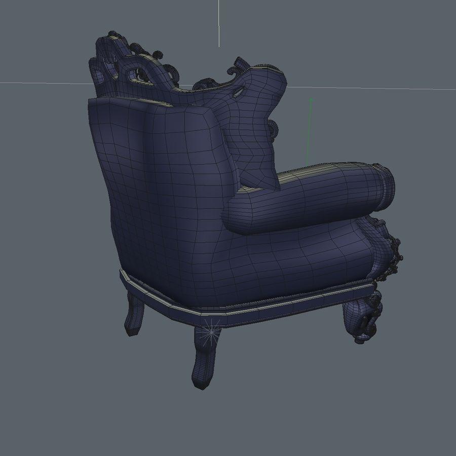 3 Baroque Velvet Armchair royalty-free 3d model - Preview no. 28