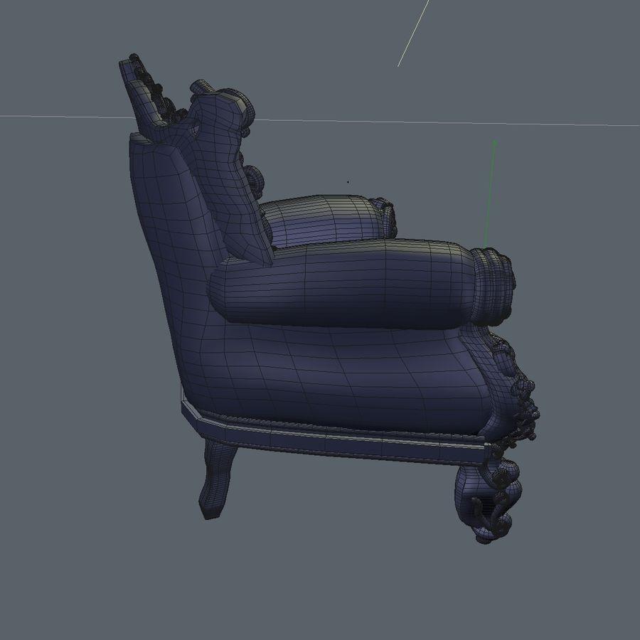 3 Baroque Velvet Armchair royalty-free 3d model - Preview no. 29