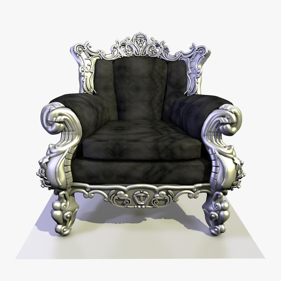 3 Baroque Velvet Armchair royalty-free 3d model - Preview no. 2