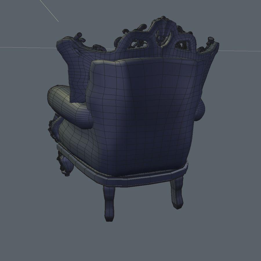 3 Baroque Velvet Armchair royalty-free 3d model - Preview no. 26